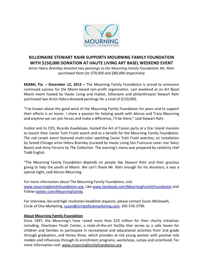 __Stewart Rahr Donates Generously to Mourning Family Foundation PRESS RELEASE